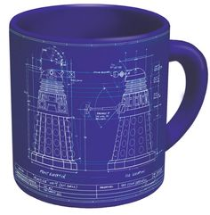 """Now you can caffeinate while you exterminate!"" LOL Genesis of the Daleks Mug Mug features Prof. Bakewell's genuine blueprints for the design of the"
