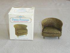 *Vintage Ideal Petite Princess Dollhouse Furniture - Gold Lame' Drum Chair +Box #Ideal