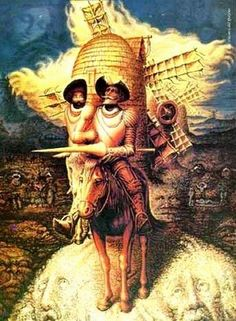 são tantos os rostos, mas o Quixote é um só.