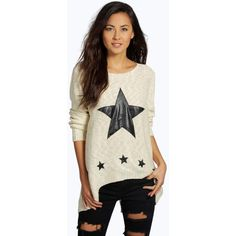 Boohoo Ellie PU Star Split Back Jumper ($12) ❤ liked on Polyvore featuring tops, sweaters, gold, lightweight sweaters, layered sweater, flat top, star print top and star print sweater