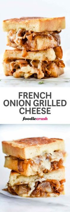 Caramelized onions and melty gruyere cheese between toasted french bread make an amazing grilled cheese sandwich with all of the flavors of everyone's favorite soup | foodiecrush.com
