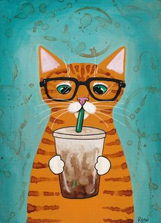 Iced Coffee Cat by Ryan Conners