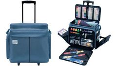 Crop In Style Studio Collection Rolling Craft Tote Blue At Sbook