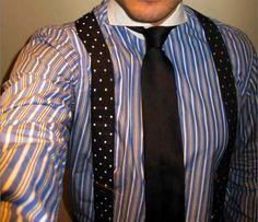 polkadot bretels met gestreept overhemd