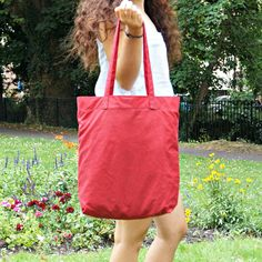 Cherry Red Wax Coated Tote Bag - Large Canvas Tote Bag - Wax Coated Large Shoulder Bag -  style: On the Go Tote Bag by theWatermelonDesign on Etsy