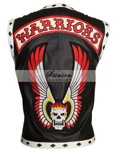 The Warriors Black Motorcycle Leather Vest Costume