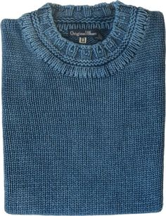 Original Blues nautical knitwear in Indigo and cotton. Michael Ross with hand framed Fair Isles made in England. Mens Fashion Sweaters, Men Sweater, How To Purl Knit, Girls Sweaters, Knitting Stitches, Knit Patterns, Sweater Weather, Indigo, Knitwear
