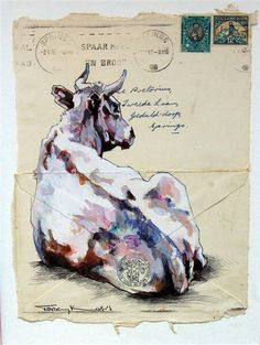 Nguni studies on old envelopes Illustrations, Illustration Art, Letter Art, Letters, Envelope Art, South African Artists, Cow Art, Art Graphique, Watercolor Animals