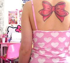Tattoo... pink bow. Kinda big. Would do a much smaller one. Love the design of it.