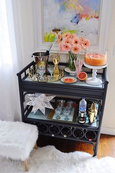 Dress up your home bar with flowers! Spring styled punch party Bar Cart entertaining