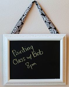 DIY picture frame chalkboard...this is super easy to make. Would look good in my office