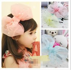 Fashion Korean Yarn Exaggeration Pearl Bow headband Hairbands Children Baby Kids Wholesales