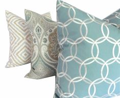 Kravet Light Blue Tan Gray Ikat Pillow Cover  18x18 by PopOColor, $50.00