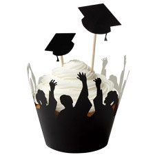 Graduation cupcake idea-love this cupcake wrapper with cupcake sticks. Graduation party season
