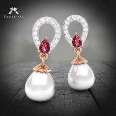 Pearl, diamond and Ruby earrings