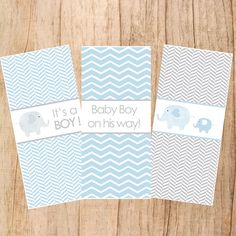 Blue Elephant- Baby Boy Shower candy Bar Wrappers