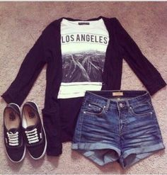 Love this outfit high waist jean shorts, l.a shirt with black vans