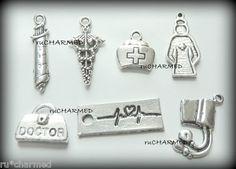 Medical Charm Findings Nurse Doctor ER RN LPN Bracelets Wine Glass Gifts