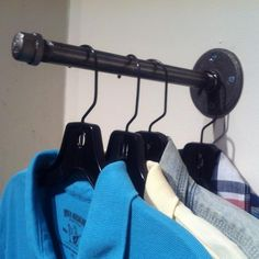 Industrial Pipe Clothing Hook Garment Hanger 10 - Made with Black Pipe and Black Pipe Fittings - 10 Long - Hardware Not Included - Customization Available Upon Request Clothes Hooks, Diy Clothes, Hanging Clothes Racks, Hanging Closet, Hanging Bar, Black Clothes, Pipe Decor, Black Pipe, Industrial Pipe