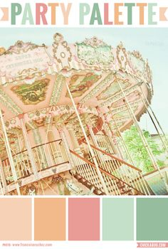 Party Palette: Color inspiration in peach, rose and mint I love this palette of colors and the carousel idea! Vintage Color Schemes, Vintage Colors, Colour Schemes, Color Combos, Color Patterns, Carousel Birthday Parties, Carousel Party, Color Menta, Mint Color