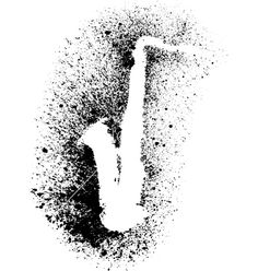 Silhouette of saxophone with grunge black splashes vector 1834354 - by Tarakan4ik on VectorStock®