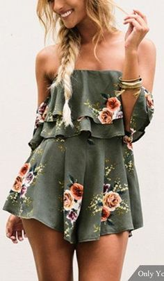#summer #outfits / green floral romper