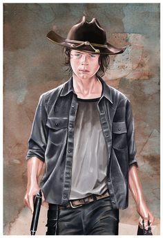 carl walking dead fan art by artist tony santiago. Carl Walking Dead, Walking Dead Fan Art, Chandler Riggs, Carl Grimes, Movies Showing, Movie Tv, Leather Jacket, Western Cowboy, Artist