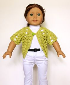 Short sleeve sweater or shrug crochet pattern for American Girl dolls or other 18 inch dolls
