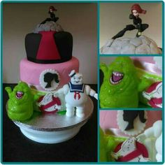 Mash up cake with Barbie, black widow and ghost busters.