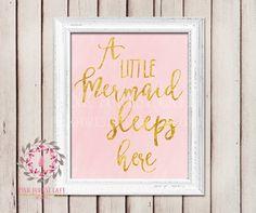 A Little Mermaid Sleeps Here Nursery Baby Girl Pink Nautical Room Printable Print Wall Poster Sign Art Home Decor