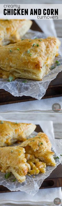 Chicken, corn, cheese and an easy cream sauce are enclosed in puff pastry triangles to make this Creamy Chicken and Corn Turnover Recipe that will be a hit with the family.: