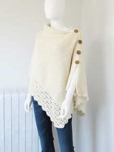 Crochet Shawl A knit-look free crochet poncho pattern. - This free crochet poncho pattern has a knit look to it. Simple yet classy, this beginner poncho is made from a simple rectangle. Crochet Poncho Patterns, Crochet Scarves, Crochet Shawl, Crochet Clothes, Cardigan Pattern, Crochet Vests, Crochet Cape, Crochet Edgings, Scarf Patterns