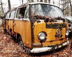 VW Bus with Truck Stacked on top in Trees by CaraFullerPhotos
