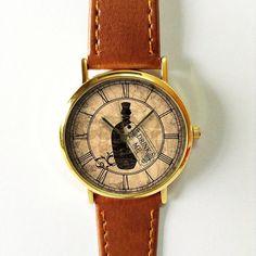 Alice In Wonderland Drink Me Watch , Vintage Style Leather Watch, Women Watches, Boyfriend Watch, Men's watch, Kindergarten