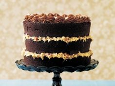 Love the bare sides on this German chocolate cake.