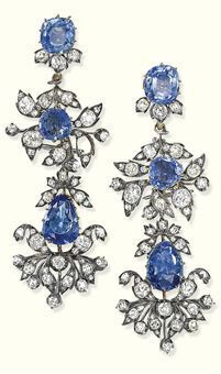 The Barberini Jewels ~ A pair of antique sapphire and diamond ear pendants belonging to the parure