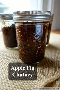 Apple Fig Chutney, a tangy condiment great with Indian dishes, made from foraged fruit. From Farm Fresh Feasts Fig Chutney Recipe, Apple Chutney, Chutney Recipes, Relish Recipes, Fig Recipes, Canning Recipes, Apple Recipes, Curry Recipes, Pumpkin Recipes
