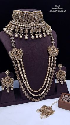 Rs4800+$ Restocked Minibridal set with reverse adstone mehendi plated Bridal Necklace Set, Bridal Jewelry Sets, Bridal Earrings, Indian Jewelry Sets, Indian Jewellery Design, Moissanite Earrings, Valentine Gifts For Girlfriend, Jewelry Design Earrings, Girls Jewelry