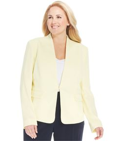 Jones New York Collection Plus Size Collarless Blazer - Jackets & Blazers - Plus Sizes - Macy's