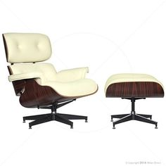 Lounge Chair and Ottoman - Eames Reproduction Off-White - Classic | Milan Direct