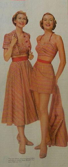 Vintage Fashion Ad Collection (Singer Sewing Machines)1950 Magazine  1950 Playsuit Ensemble