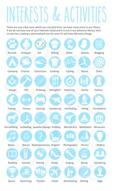 100 - Hobbies and Interests Icons | Vector icons, Flats and Creative