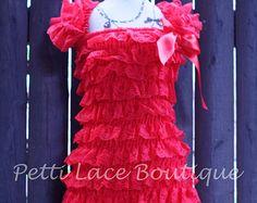 Red dress, girls dress, flower girl, birthday dress, baby dress, toddler dress, lace dress