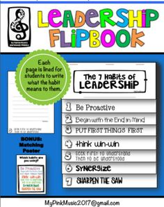 This is the perfect writing flip-book for elementary students who are involved in the Leader in Me program. Each page has lines for students to write their thoughts for each of the seven habits or the class could collaborate and work together to define the habits.