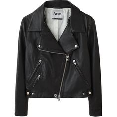 Acne Rita Leather Jacket (9 805 SEK) found on Polyvore featuring women's fashion, outerwear, jackets, tops, coats, women, cropped motorcycle jacket, zip up jackets, biker jacket and real leather jackets