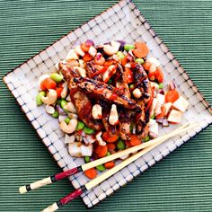 Teriyaki Chick'n Chop Salad. A quick and delicious salad coming your way! You can throw the teriyaki chick'n on the grill for a summer treat #healthysummer #meatlessmonday #grilled
