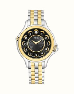 Fendi - Crazy Carats Diamond, Topaz, Yellow Gold Plated and Stainless Steel Bracelet Watch, Stylish Watches, Watches For Men, Men's Watches, Stainless Steel Bracelet, Stainless Steel Case, Brown Leather Backpack, White Topaz, Gold Watch, Fendi