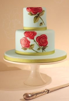 Rose painted cake. Nice colours