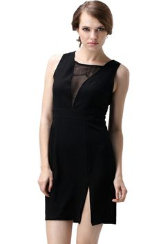 ROMWE   Sheer Mesh Detailed Shift Dress, The Latest Street Fashion