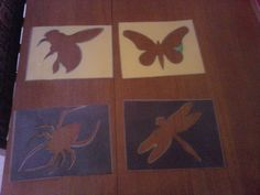 Bug Stencils; construction paper, scissors, laminate and cut in the center. Excellent for tactile and art activities.